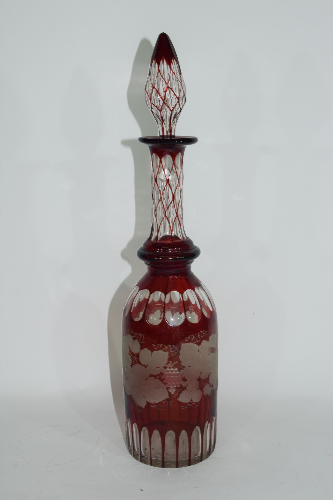 Bohemian style glass decanter and tear drop stopper