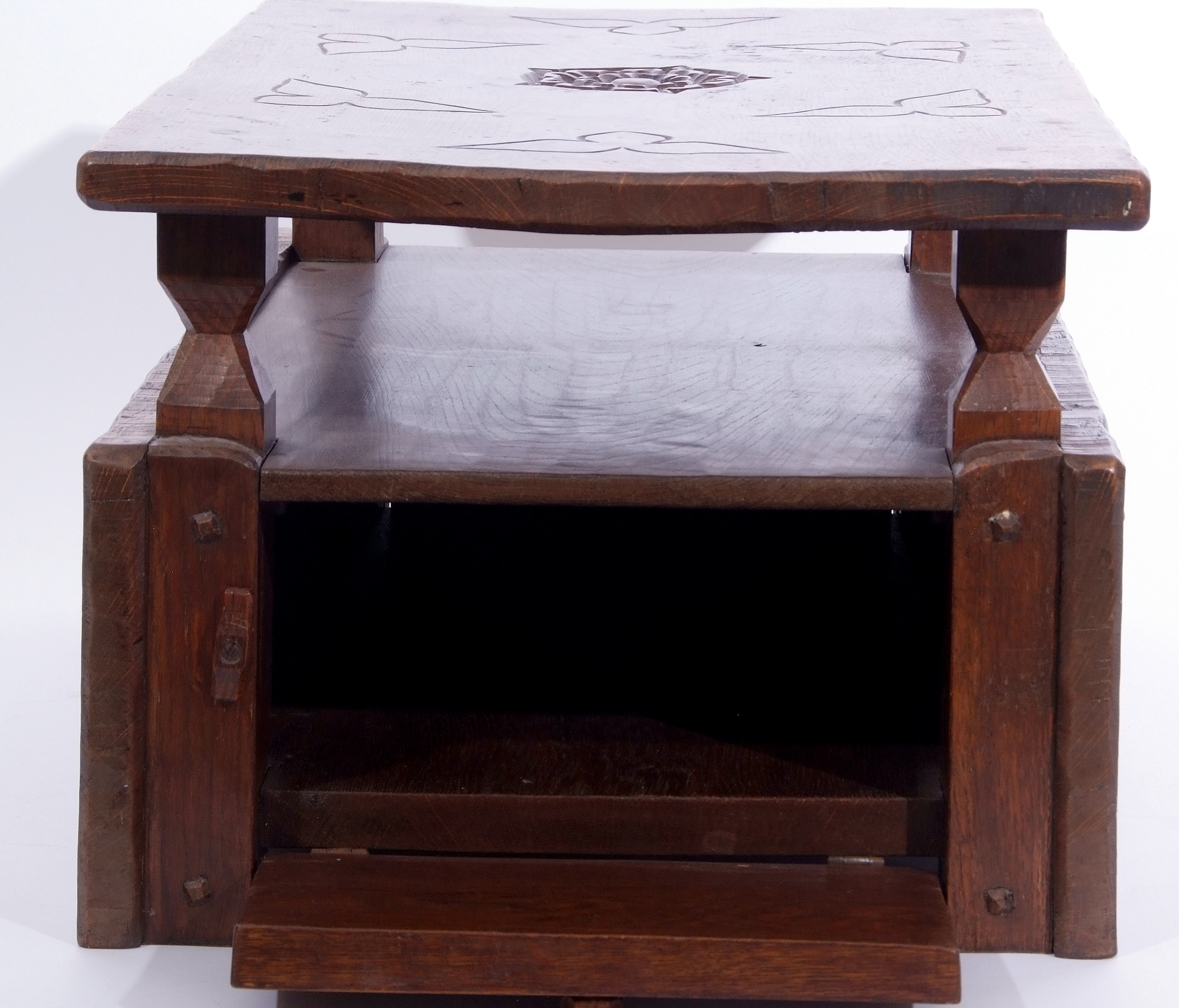 Jack Grimble of Cromer Oak coffee table with drop down storage end, carved with Tudor Rose detail - Image 6 of 9