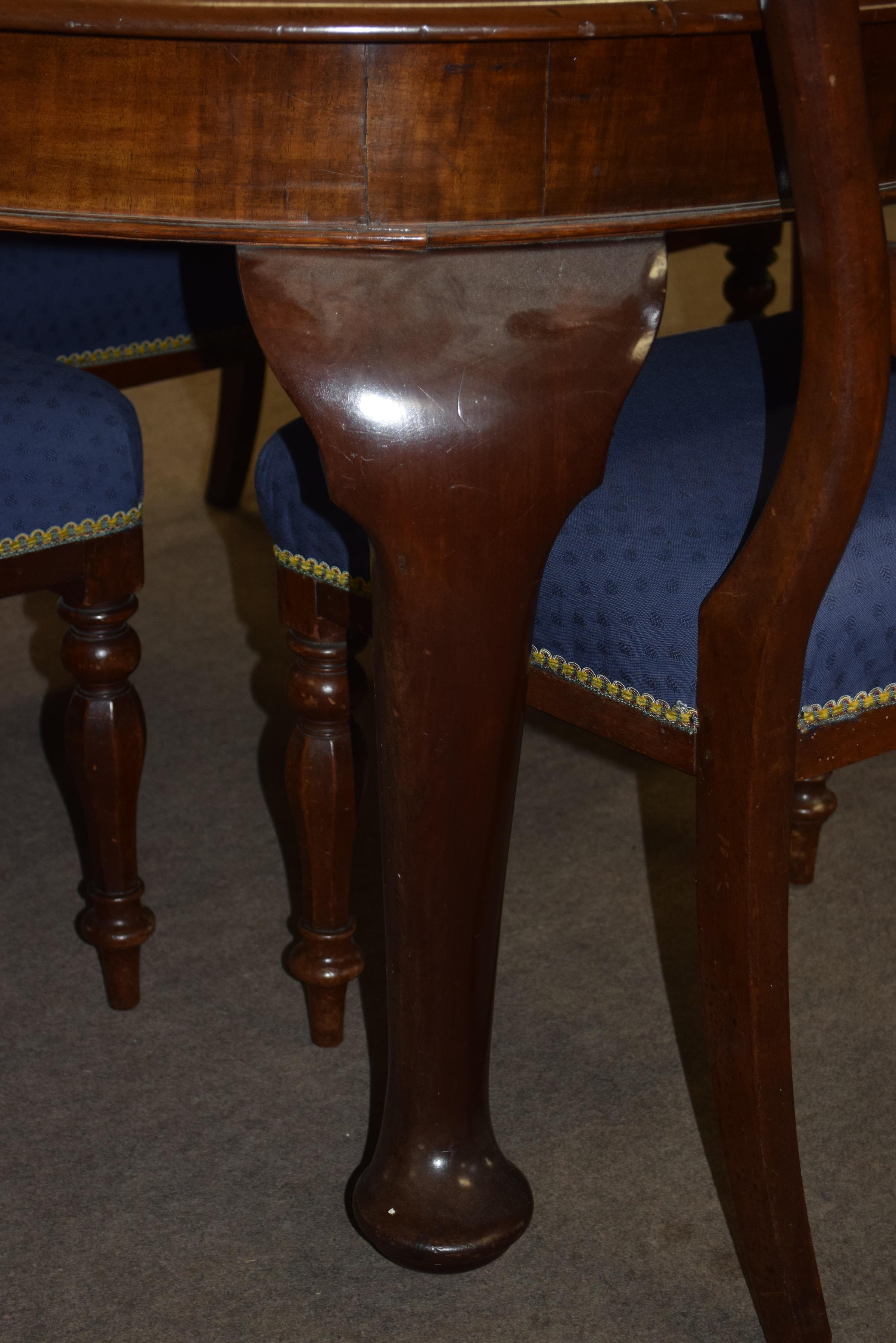 Set of six Victorian mahogany bar back dining chairs comprising two carvers with scrolled arms and - Image 9 of 10