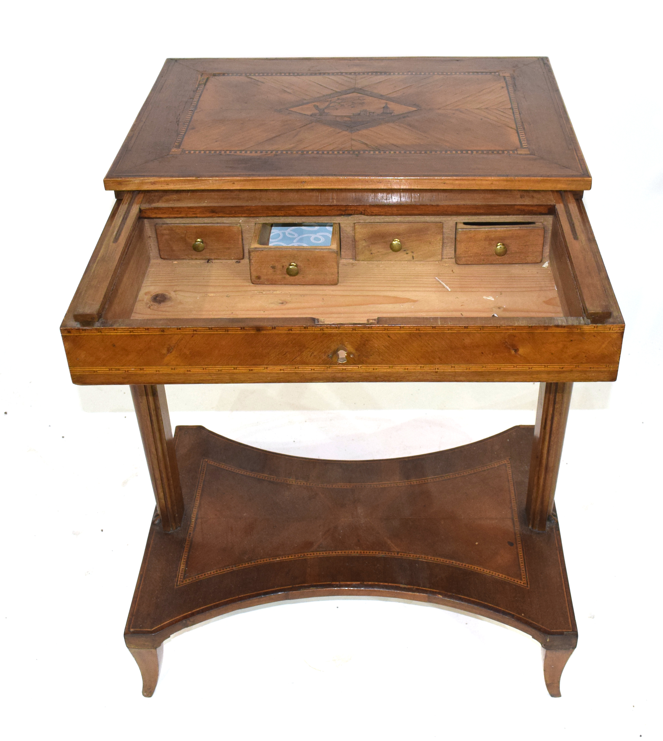 19th century Continental metamorphic desk or work table, the inlaid sliding top opening to reveal - Image 3 of 4