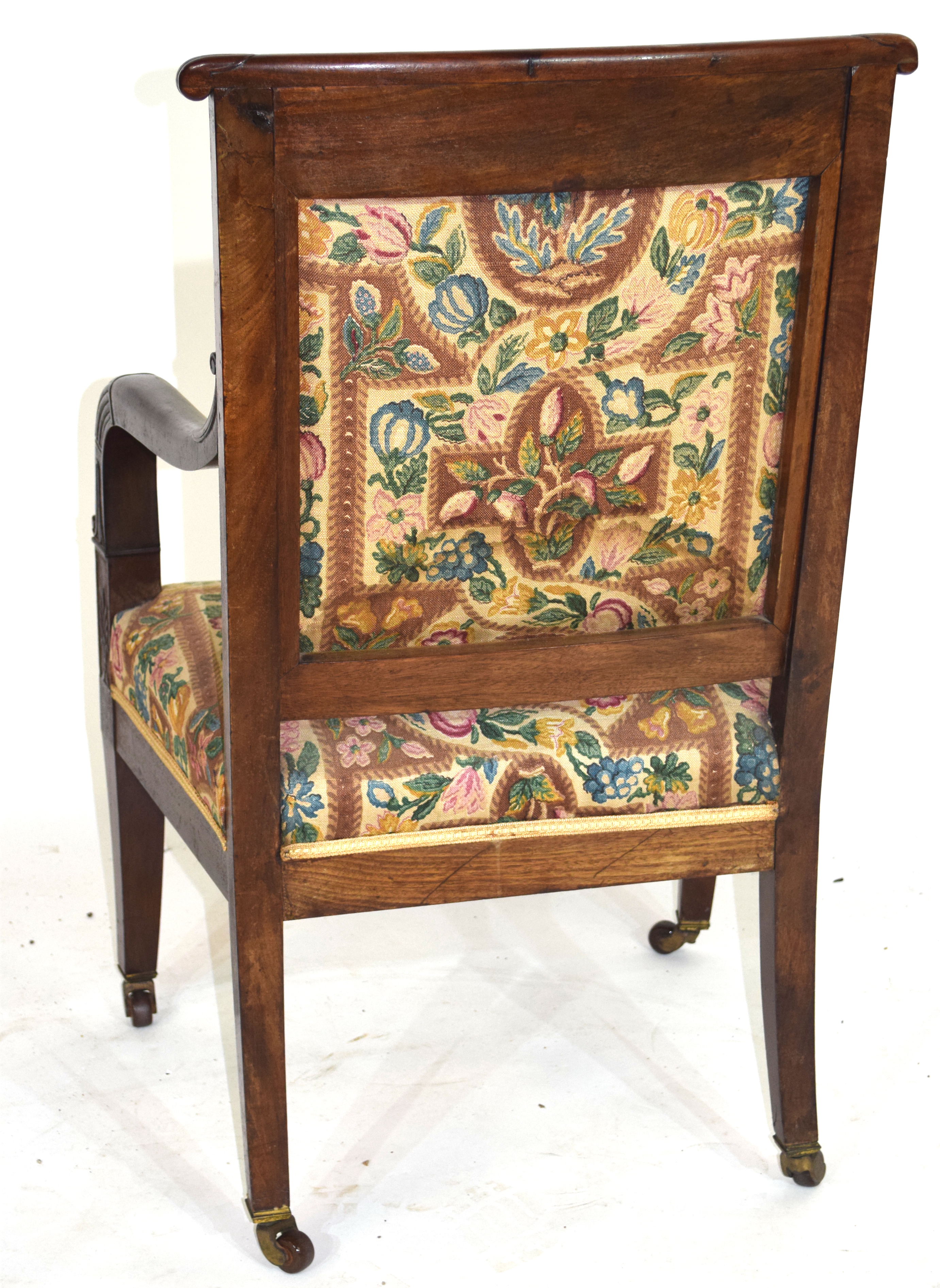 19th century mahogany framed armchair with tapering legs raised on casters, 92cm high Condition: - Image 3 of 4