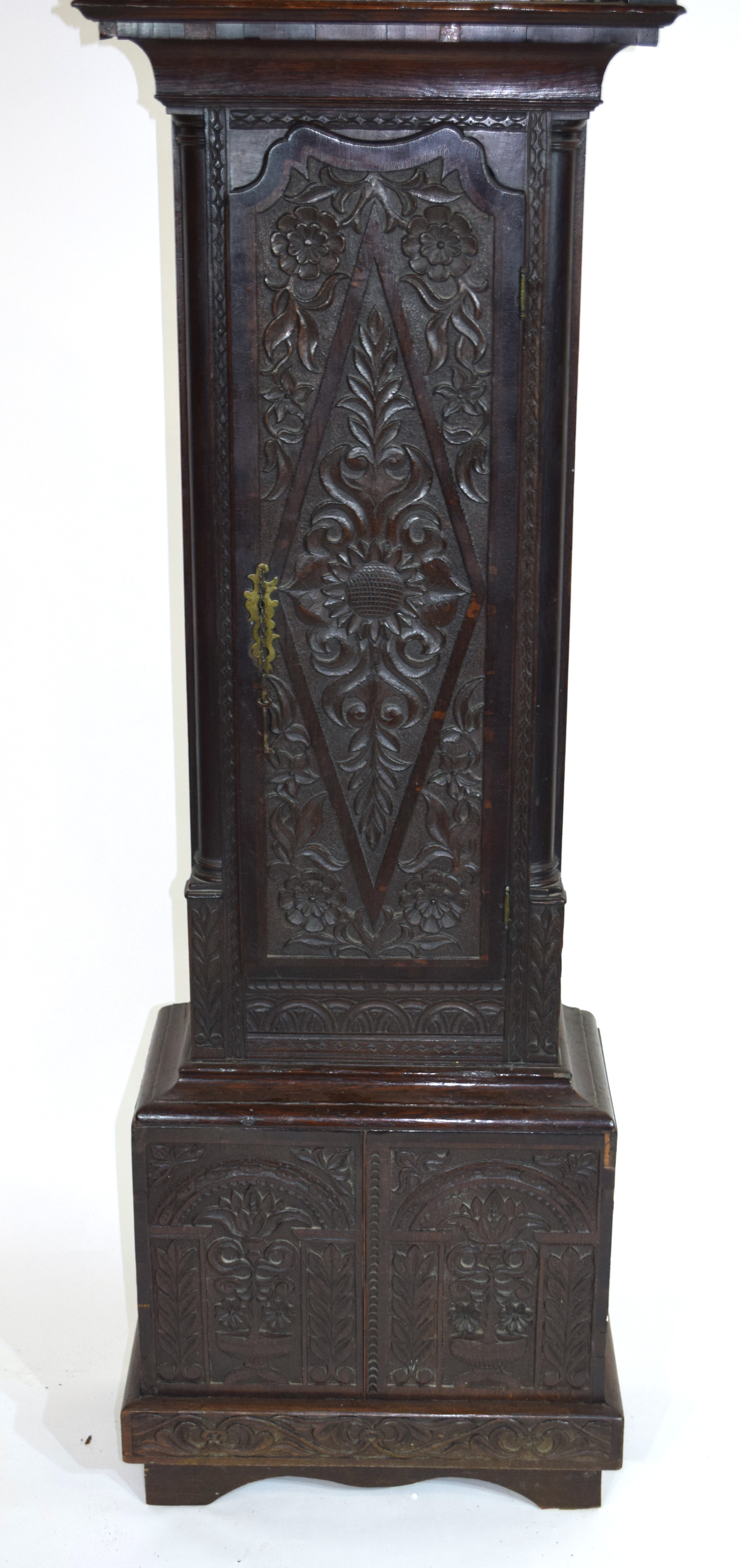 Ornately carved longcase clock, with gilt dial mounted with Roman chapter ring, subsidiary minutes - Image 2 of 7