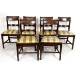 Set of six 19th century mahogany bar back dining chairs with striped upholstered seats, tapering