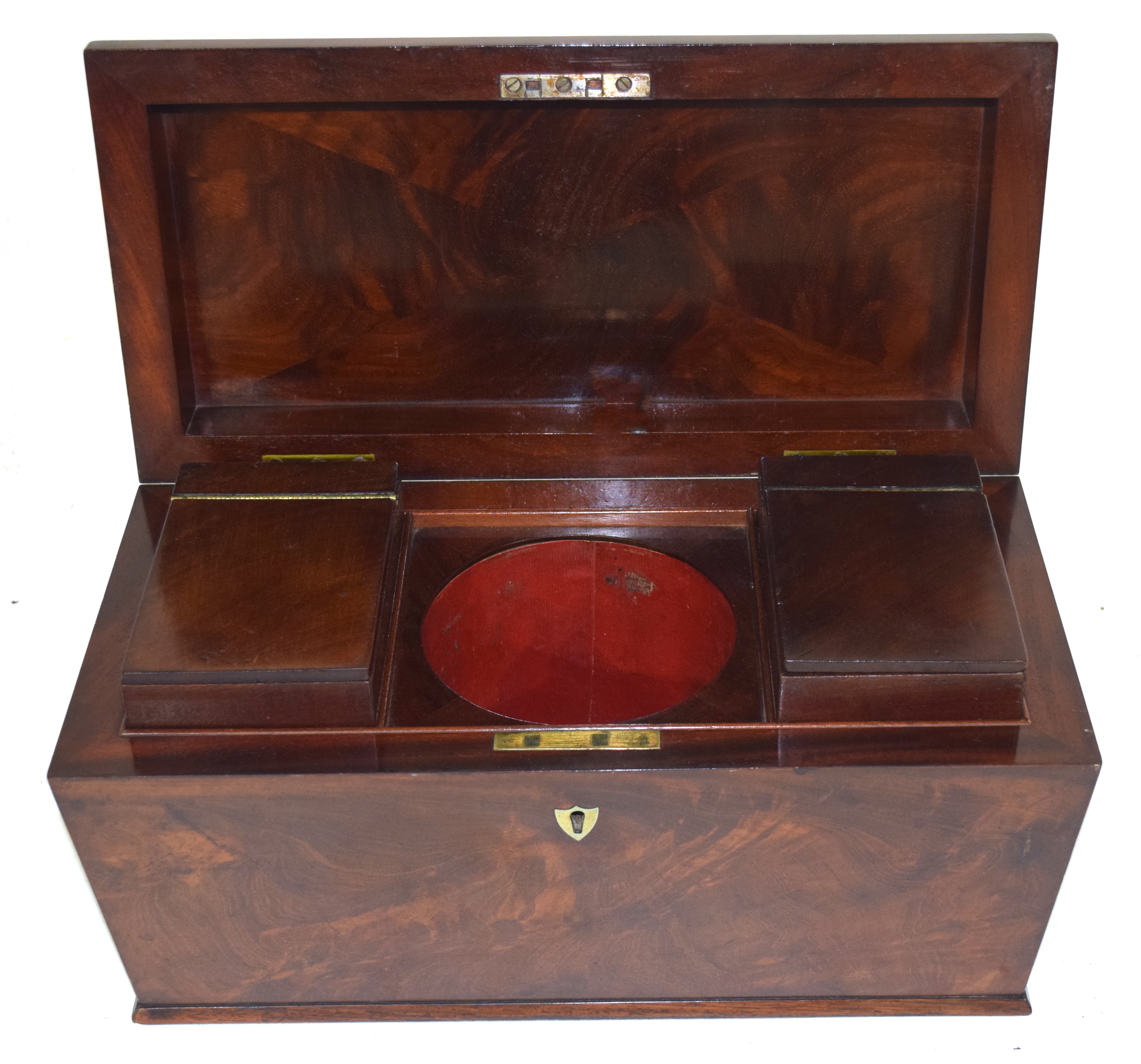 Georgian mahogany sarcophagus formed tea caddy, the hinged lid opening to an interior with two - Image 2 of 3