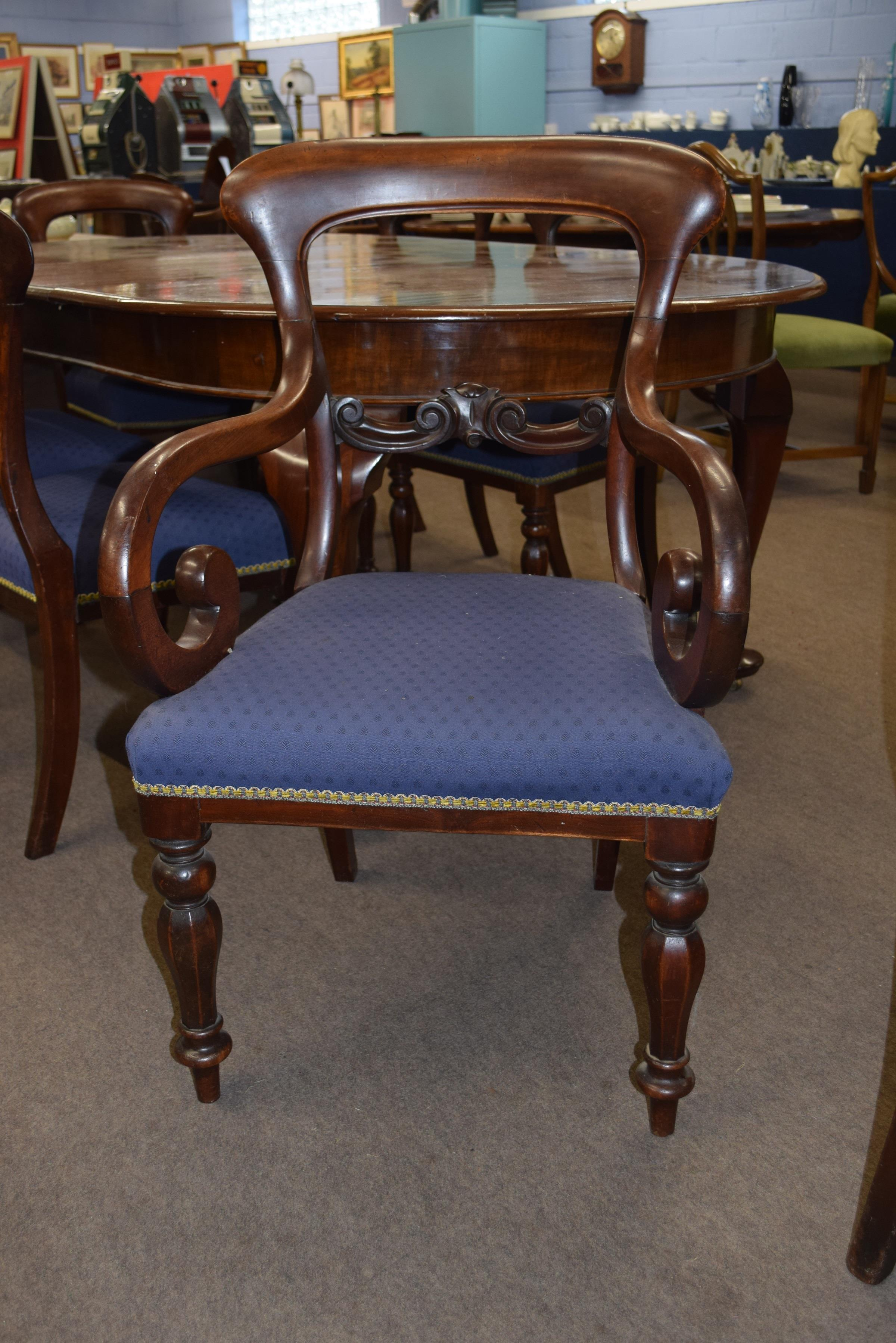 Set of six Victorian mahogany bar back dining chairs comprising two carvers with scrolled arms and - Image 3 of 10
