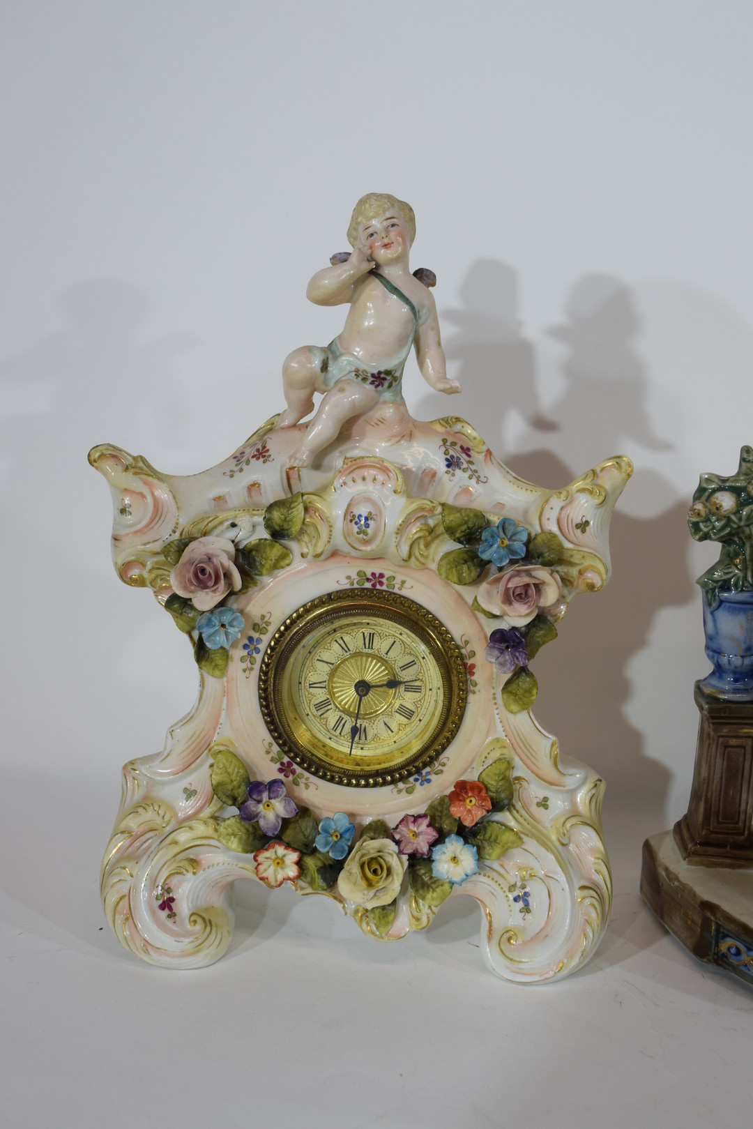 Three examples of Continental porcelain clock mantel cases - Image 5 of 9