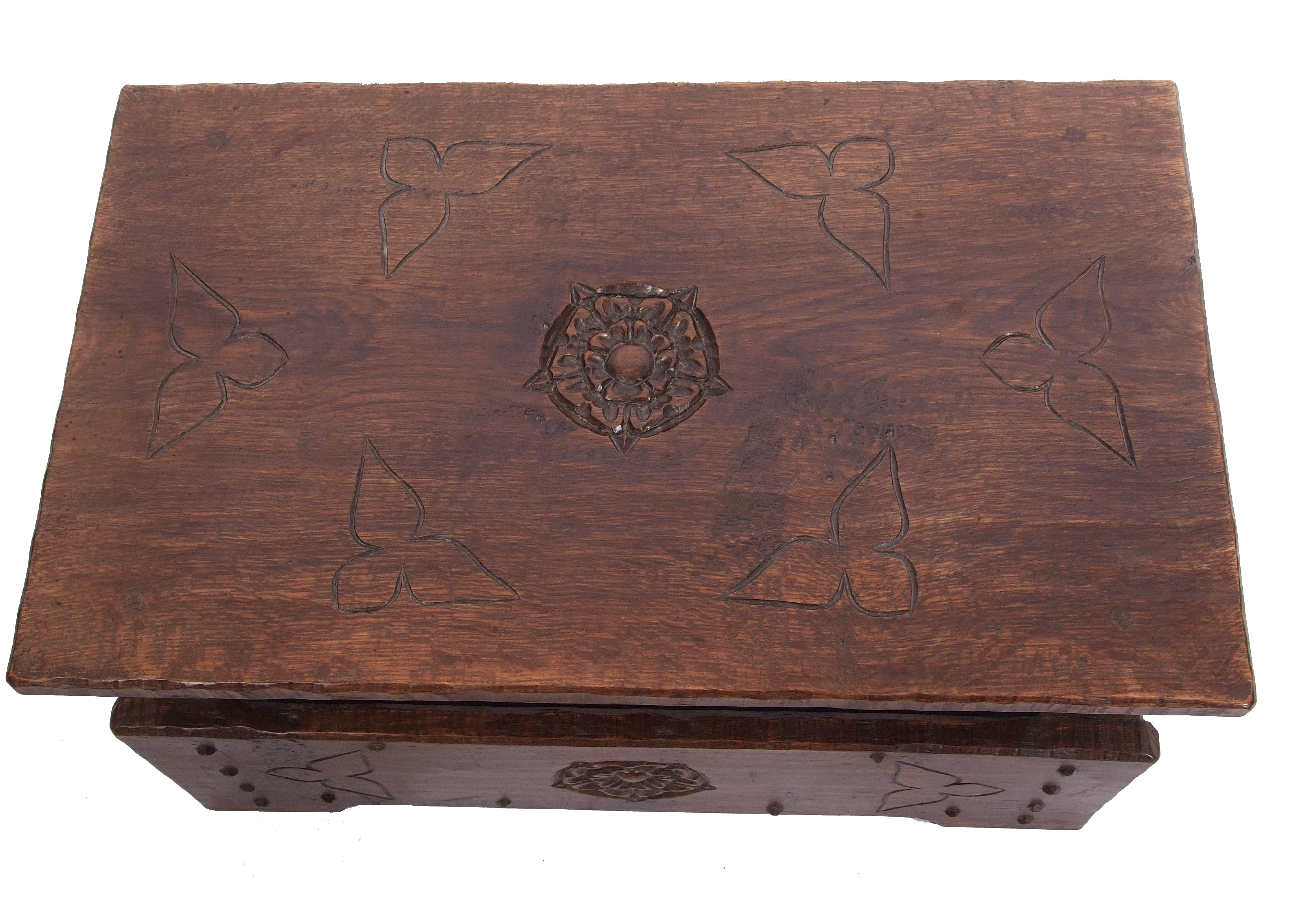 Jack Grimble of Cromer Oak coffee table with drop down storage end, carved with Tudor Rose detail - Image 4 of 9