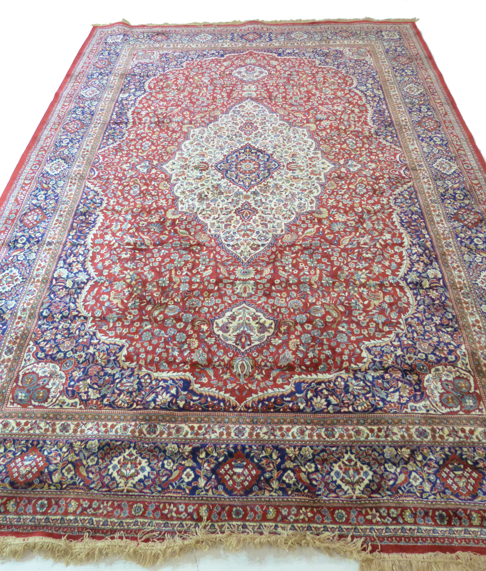 Large red ground full-pile Kashmir Carpet, floral medallion design, 340cm x 230 cm approx - Image 3 of 8