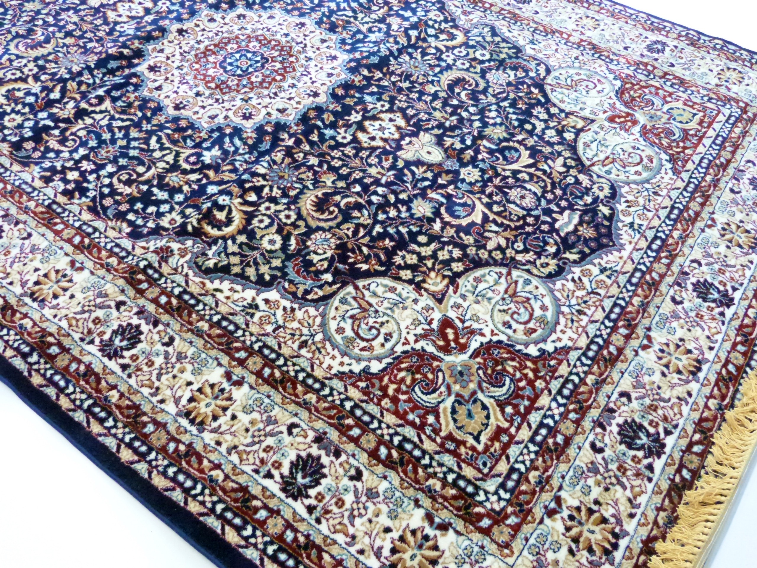Rich blue ground full pile Turkish Carpet, with floral medallion design 320cm x 200cm approximately - Image 6 of 8