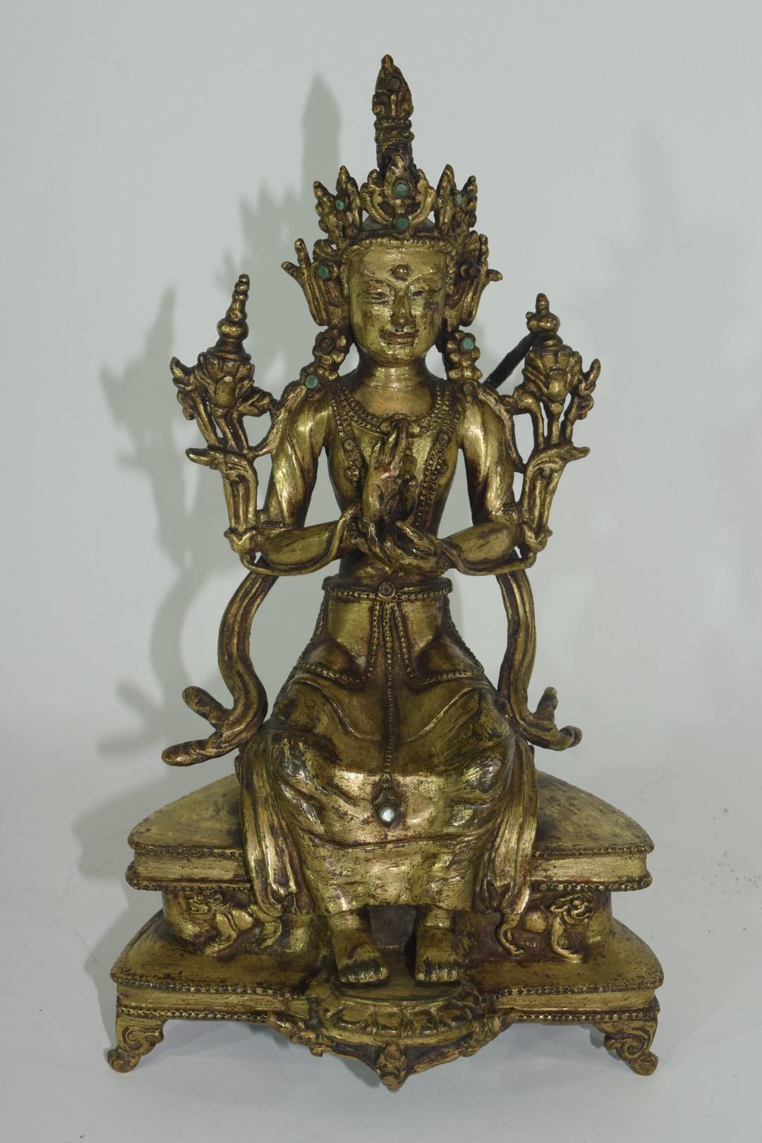 Rare Sino-Tibetan gilt bronze figure of Maitreya - Image 3 of 8
