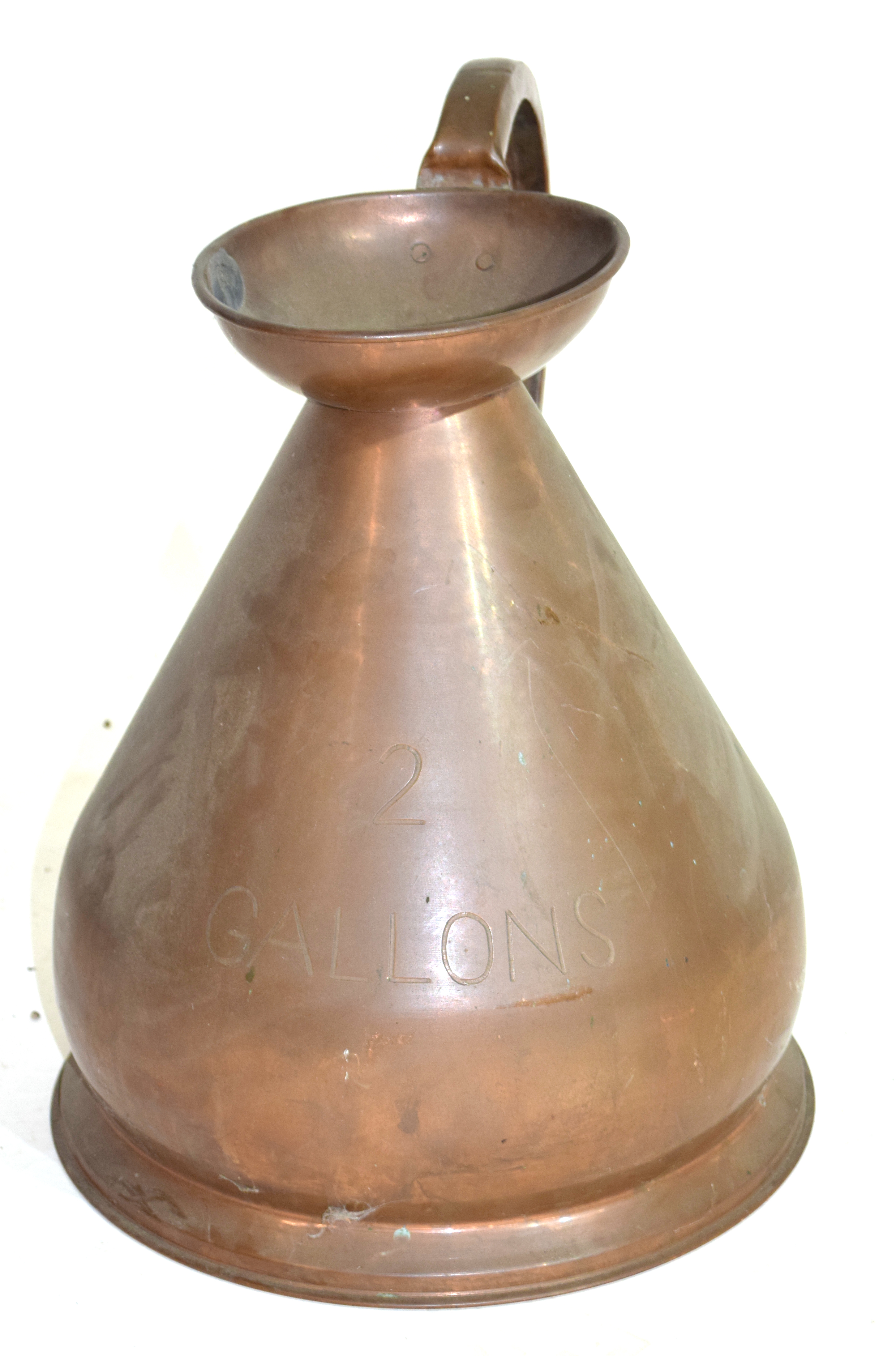 Large copper two-gallon jug, height approx 44cm Condition: Appears structurally sound^ would benefit - Image 2 of 2