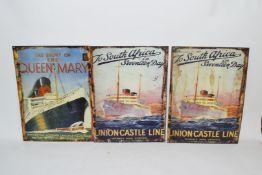 Three enamel reproduction posters
