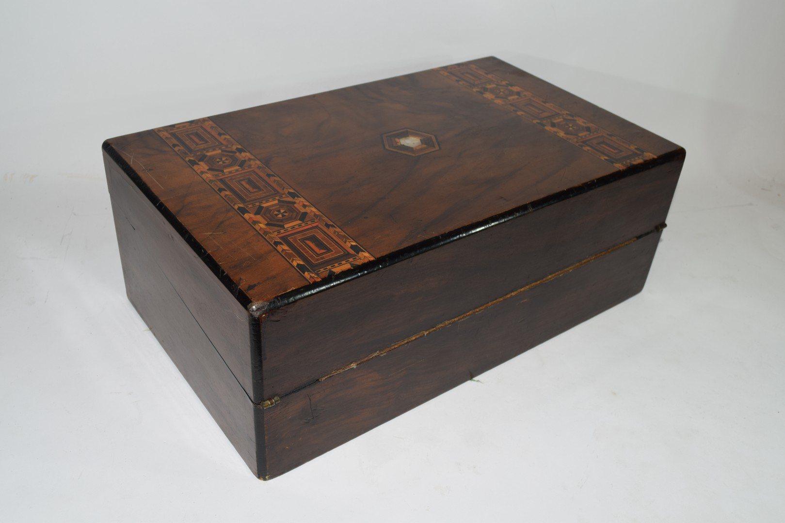Late 19th century walnut and marquetry inlaid writing box - Image 3 of 6