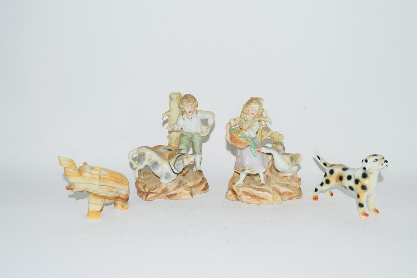 Group of ceramic items, inc two spill vases of children