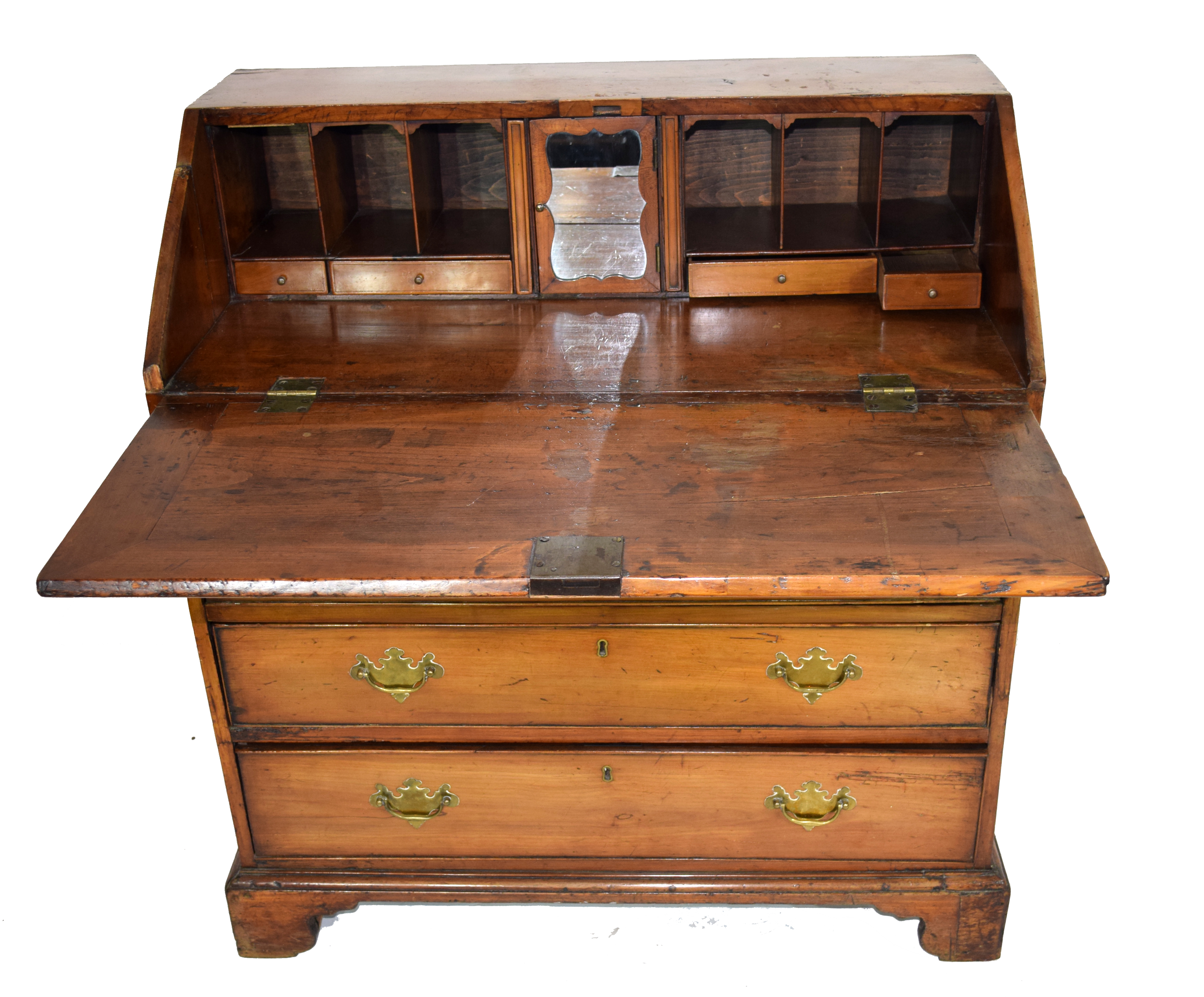 George III faded mahogany bureau with fall front opening to a shelved interior over four long - Image 2 of 4