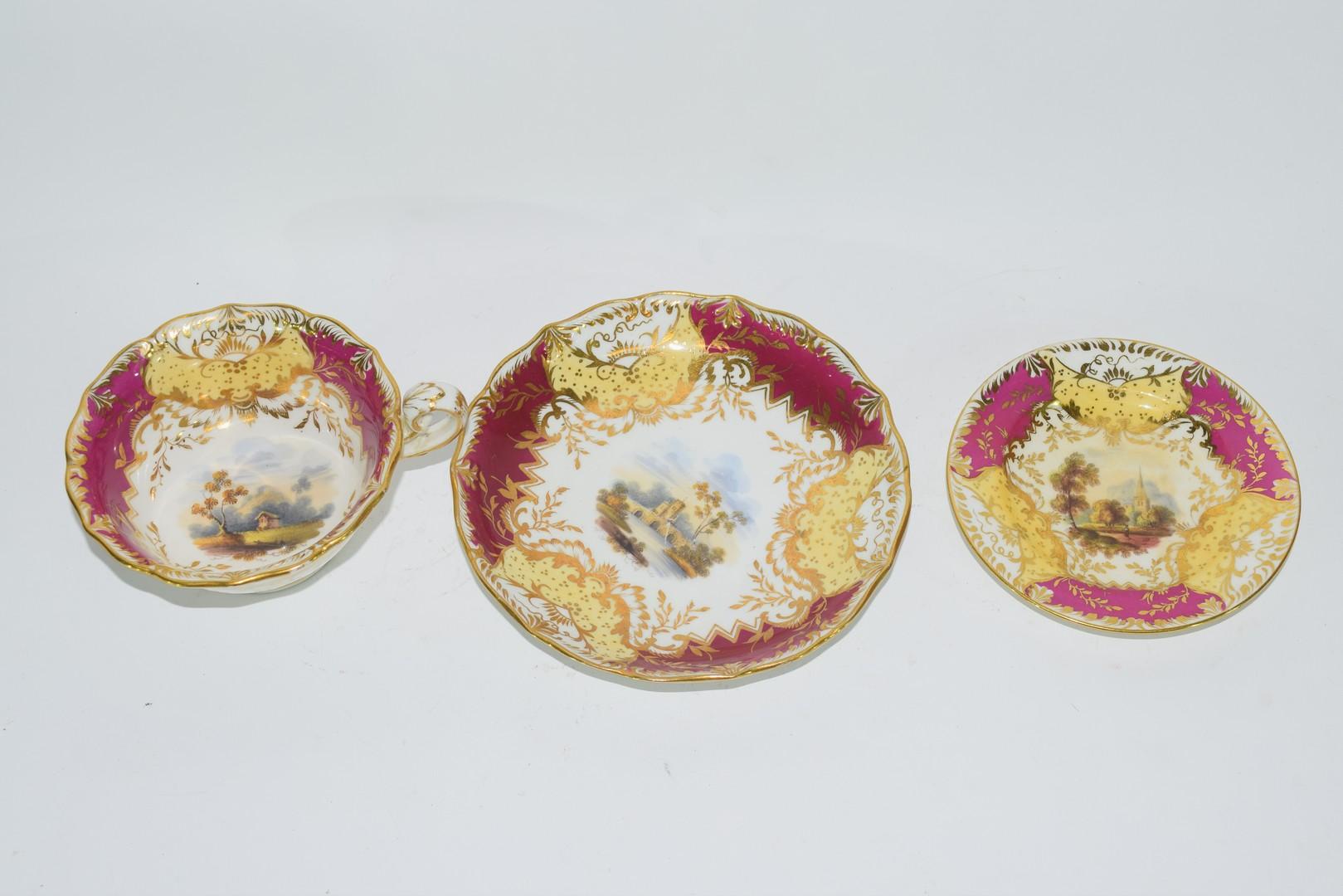 English porcelain trio - Image 2 of 3