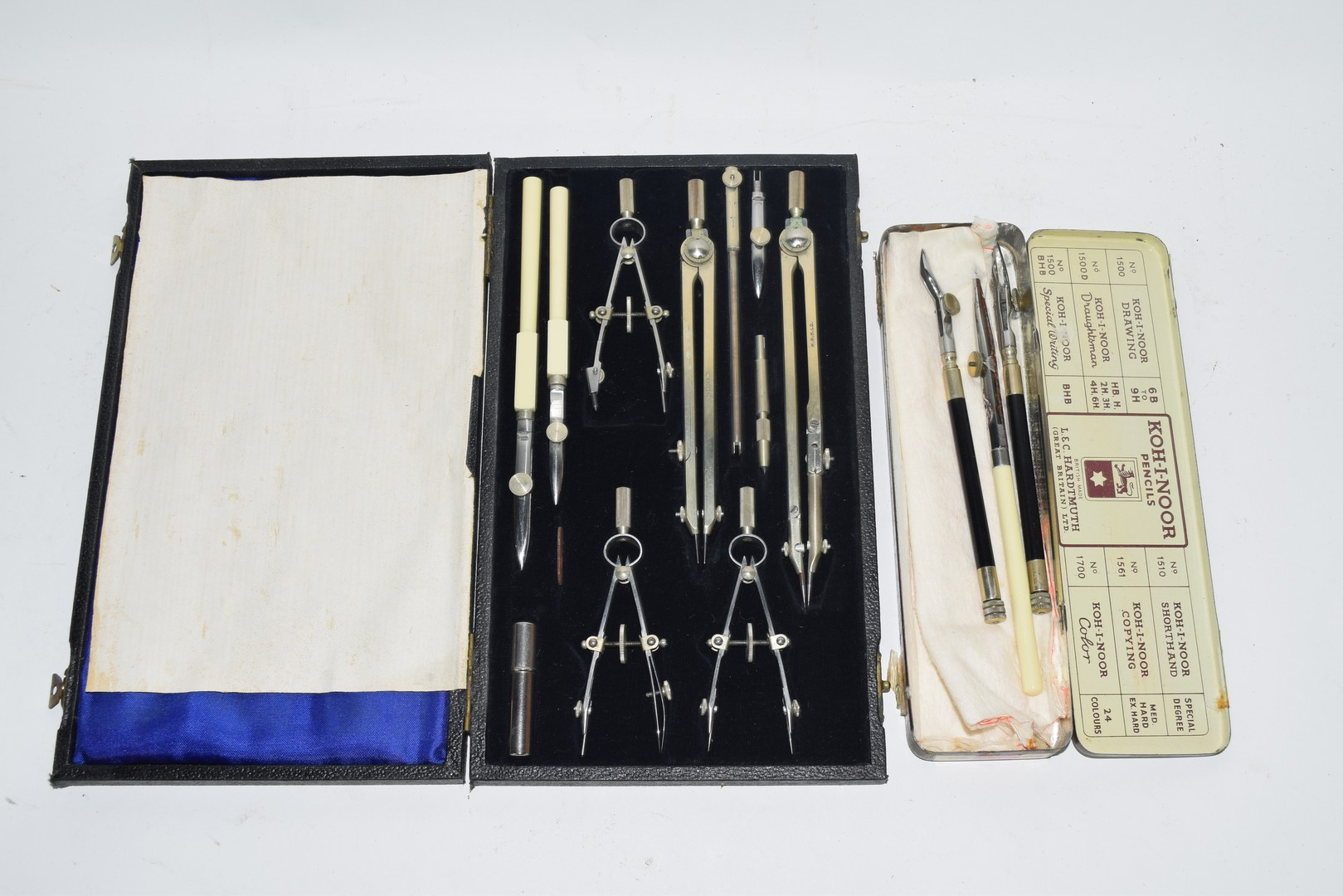 A cased technical drawing set