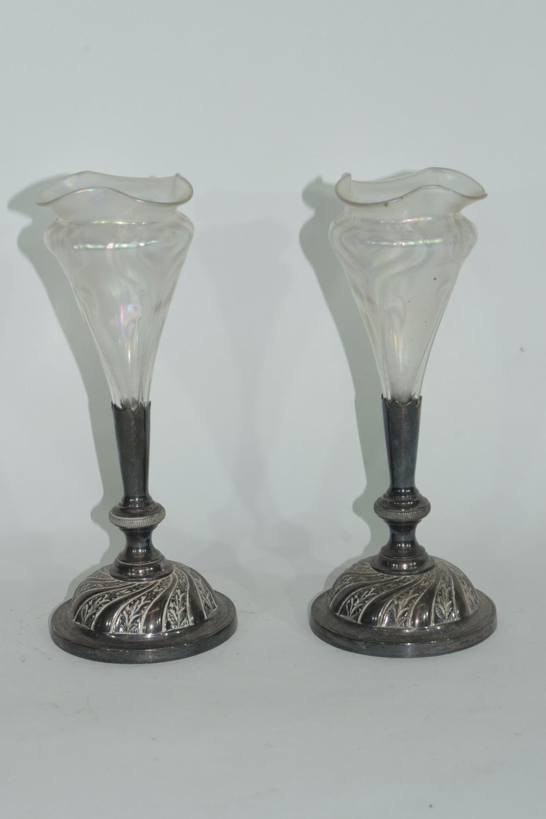 Pair of Art Nouveau bud vases