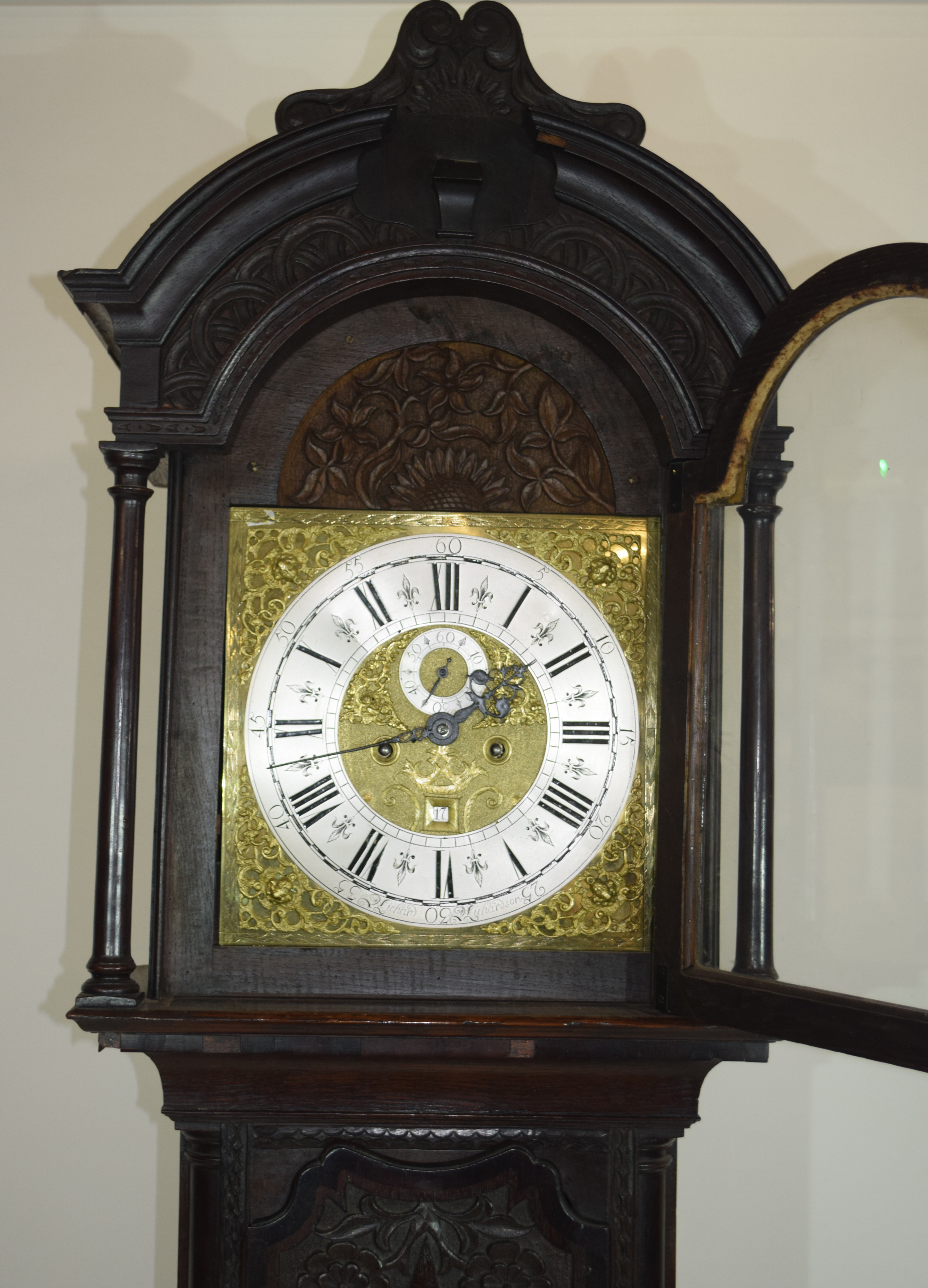 Ornately carved longcase clock, with gilt dial mounted with Roman chapter ring, subsidiary minutes - Image 6 of 7