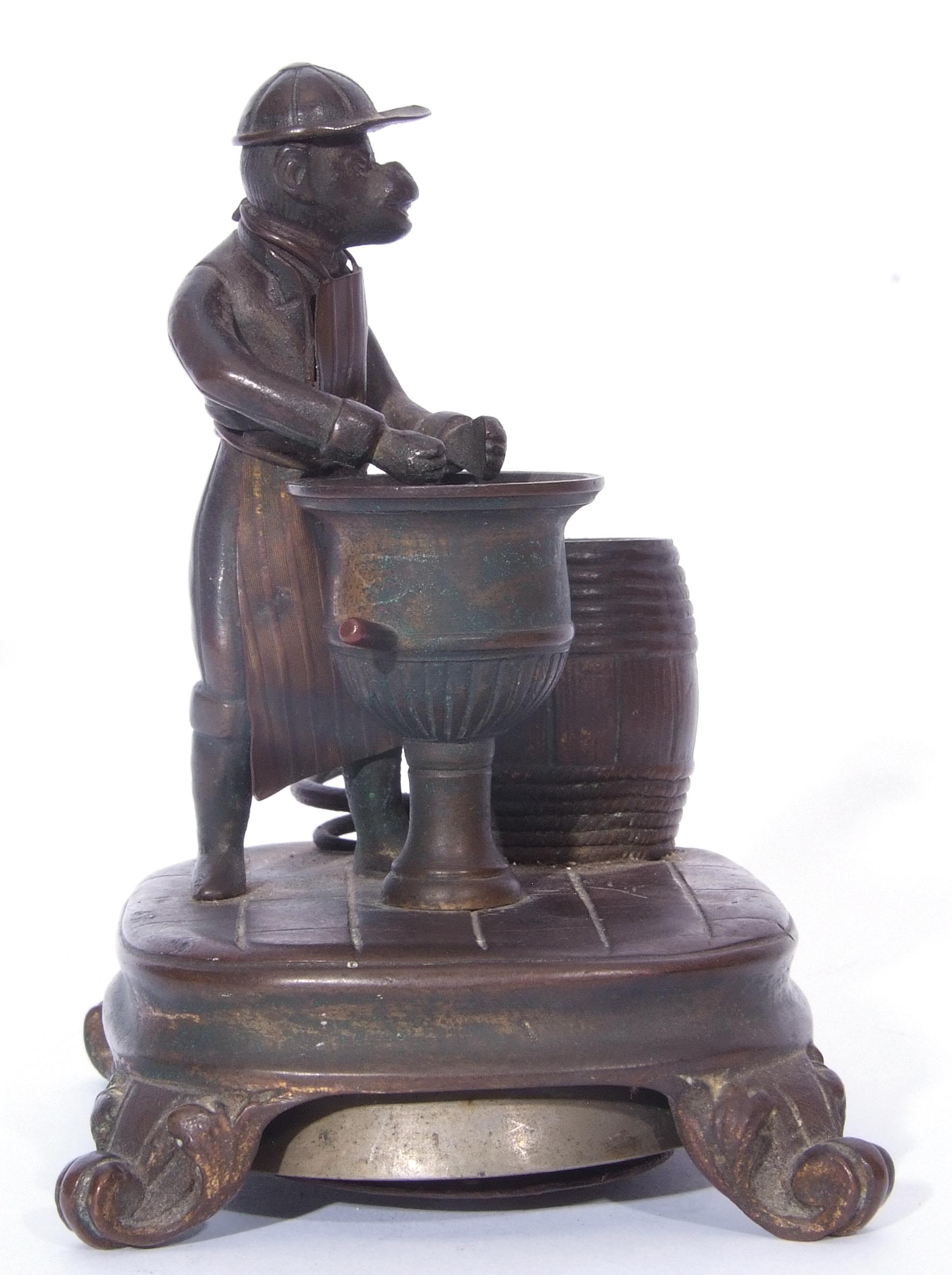 Antique bronze desk bell, a model of a monkey - Image 4 of 11