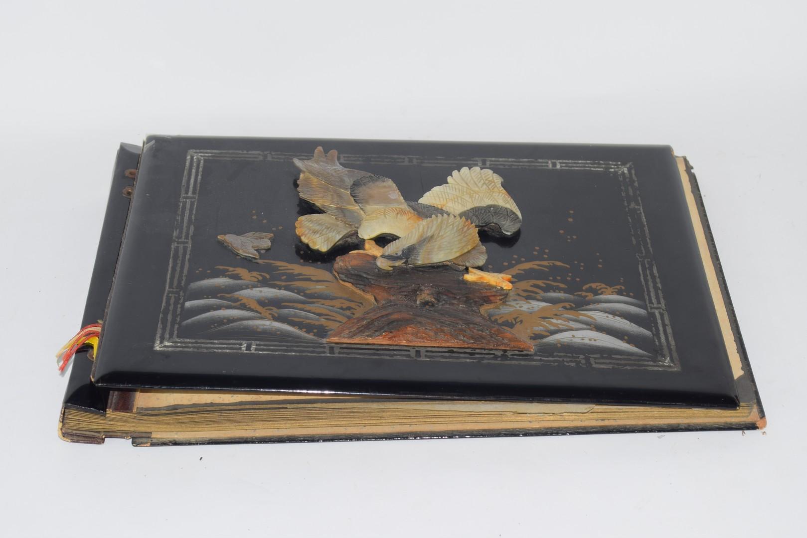 1930s Oriental lacquer photograph album - Image 2 of 3