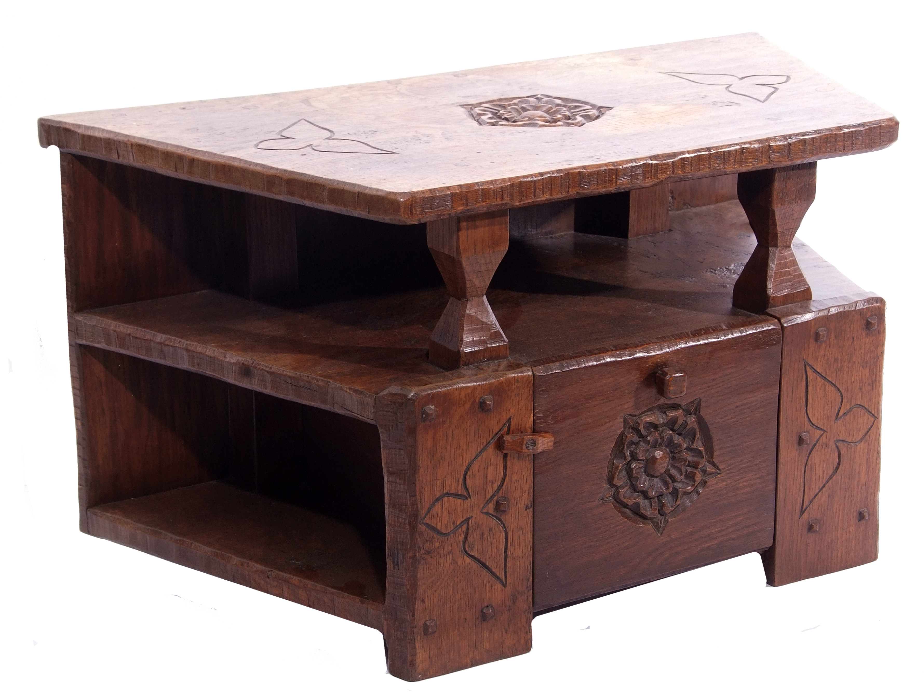 Jack Grimble of Cromer, a small oak losenge shaped side table with carved Tudor Rose detail 76cm - Image 2 of 10