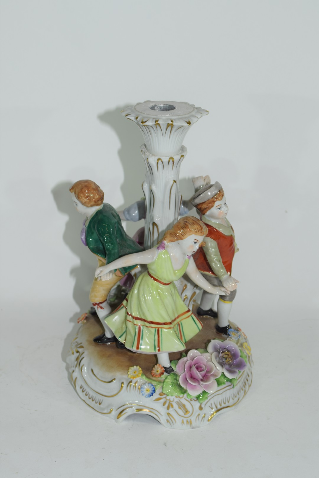 Continental porcelain candlestick in Meissen style