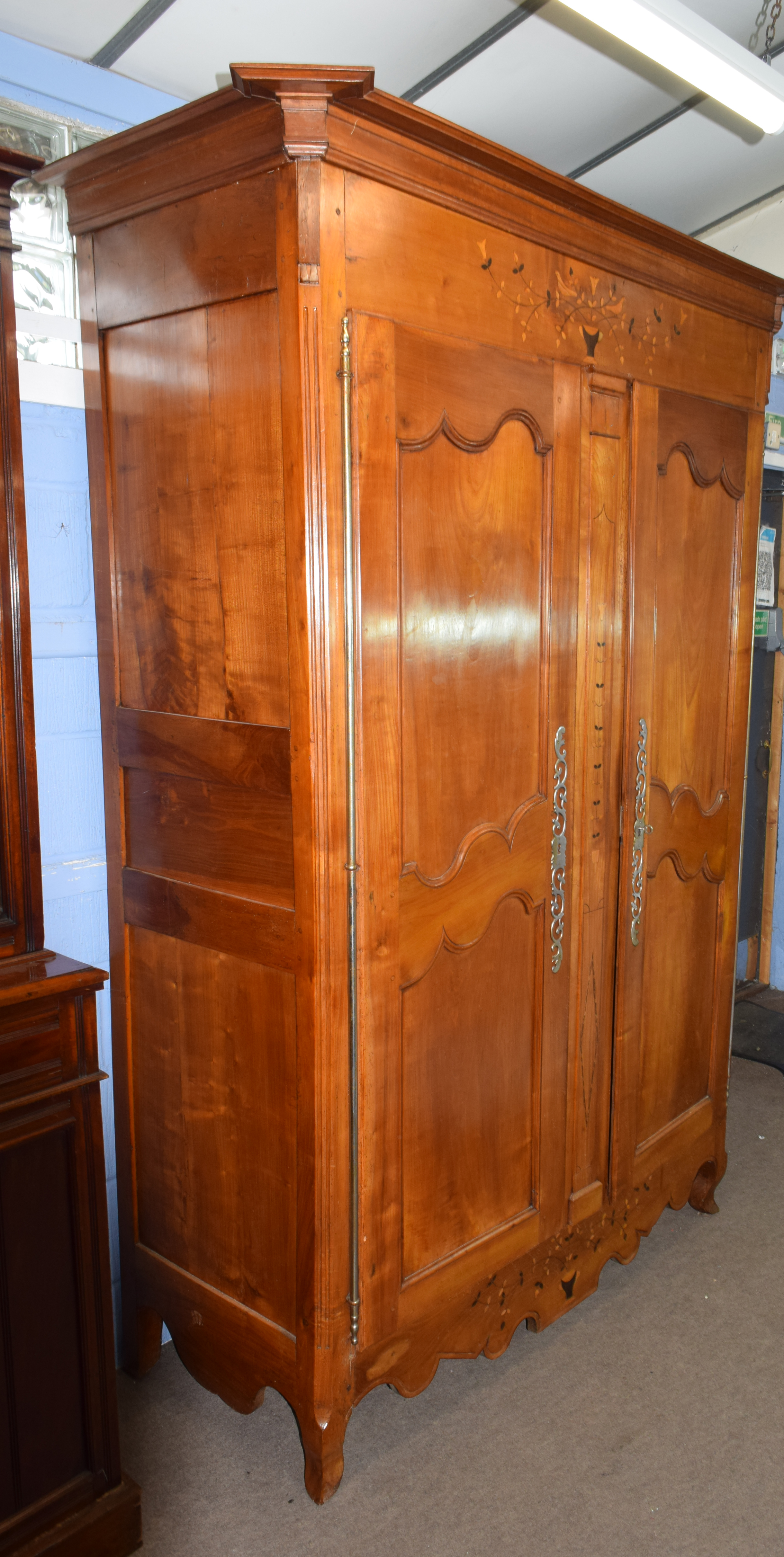 Large inlaid armoire, width approx 140cm Condition: Appears structurally sound^ minor splitting to - Image 2 of 5