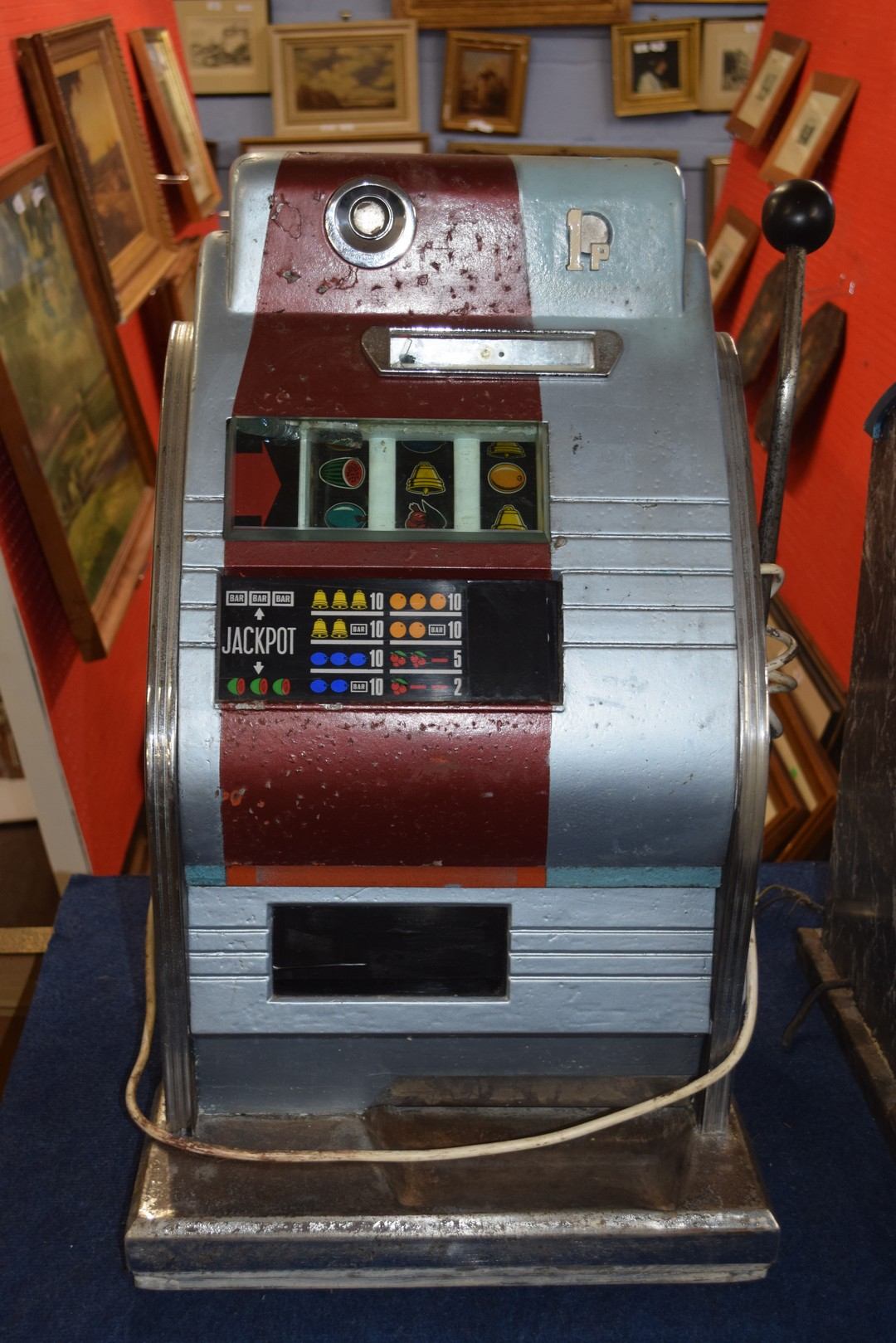 Vintage penny fair one armed bandit fruit machine, with light up display, 68cm high Condition: