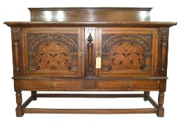 Good quality early 20th century oak sideboard in 17th century style having a chequered inlaid