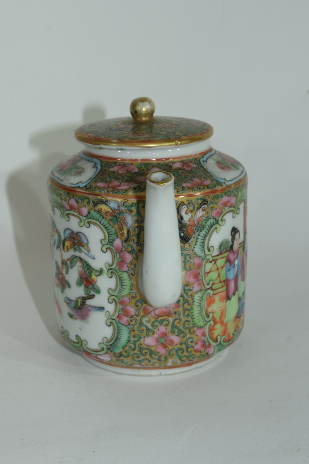 Small Cantonese porcelain tea pot - Image 4 of 7