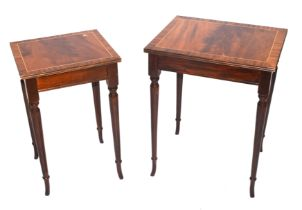 Nest of two reproduction mahogany veneered occasional tables raised on tapering legs, largest 40cm