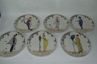 Group of 6 Villeroy & Boch plates, all decorated with Art Nouveau style prints, but modern issue
