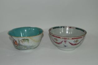 Late 18th century Chinese bowl decorated in famille rose, together with a further bowl of lobed