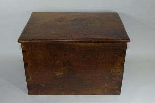 Oak cinder or log box^ lifting lid enclosing tin liner and applied on either side with cast metal