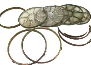 Set of five 19th century iron framed circular nine-pane windows, possibly from a stable, 73cm
