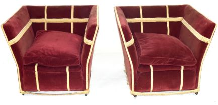 Early 20th century drop end Knole style two-seater sofa and pair of accompanying chairs, upholstered