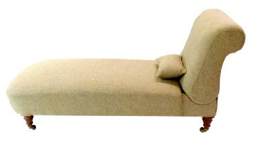Victorian chaise longue with adjustable backrest, recently re-upholstered in pale Harris tweed
