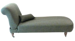 Victorian chaise longue with adjustable backrest, recently re-upholstered in dark Harris tweed