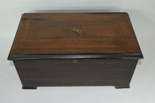 19th century walnut cased musical box, the inlaid lid enclosing a cylinder movement of 8 airs with