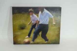"""Two paintings by Luke Morgan 2004, entitled """"The Big Match"""""""