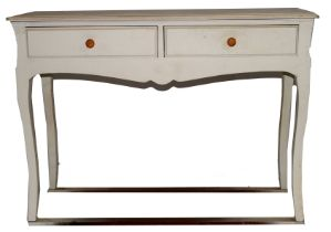 Contemporary white finish composite two-drawer side table raised on swept legs, 109cm wide