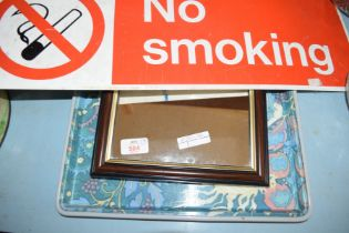SMALL DARK WOOD FRAMED WALL MIRROR AND A SERVING TRAY