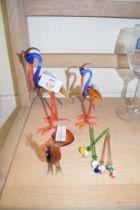 THREE ART GLASS BIRDS AND GLASS COCKTAIL STICKS