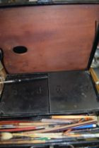 METAL ARTIST'S BOX CONTAINING VARIOUS PAINTS, BRUSHES AND PALETTE ETC