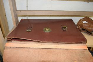 LEATHER AND BRASS MOUNTED SATCHEL