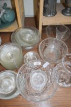 MIXED LOT OF CLEAR GLASS BOWLS, VASES ETC