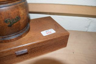 WOODEN TOBACCO JAR AND A SMALL WOODEN RECTANGULAR BOX WITH HINGED LID