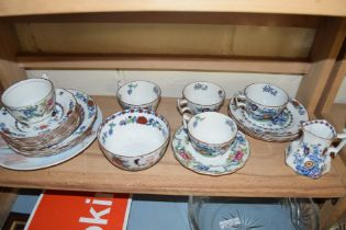 QTY OF BOOTHS 'THE POMPADOOR' TEA WARES, TOGETHER WITH A FURTHER DECORATED WALL PLATE