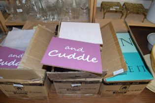 THREE BOXES MODERN WALL HANGING PLAQUES 'LET'S STAY HOME AND CUDDLE' AND 'GIN AND BEAR IT'